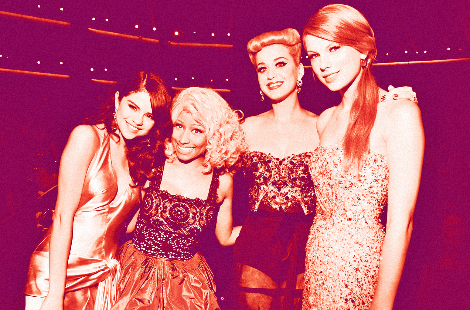 Below's a picture of Nicki attending the 2011 American Music Awards in L.a, California with Katy Perry as well as Taylor Swift.